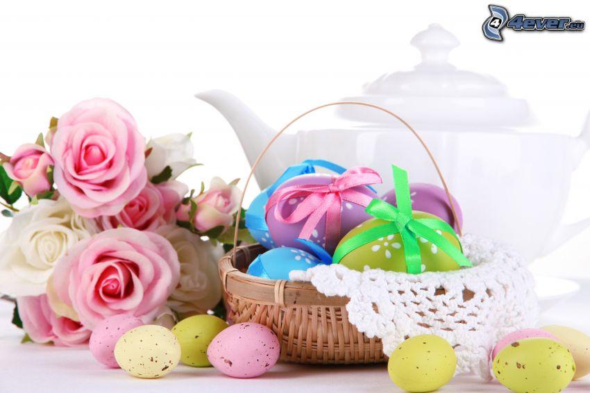 uova di pasqua, rose