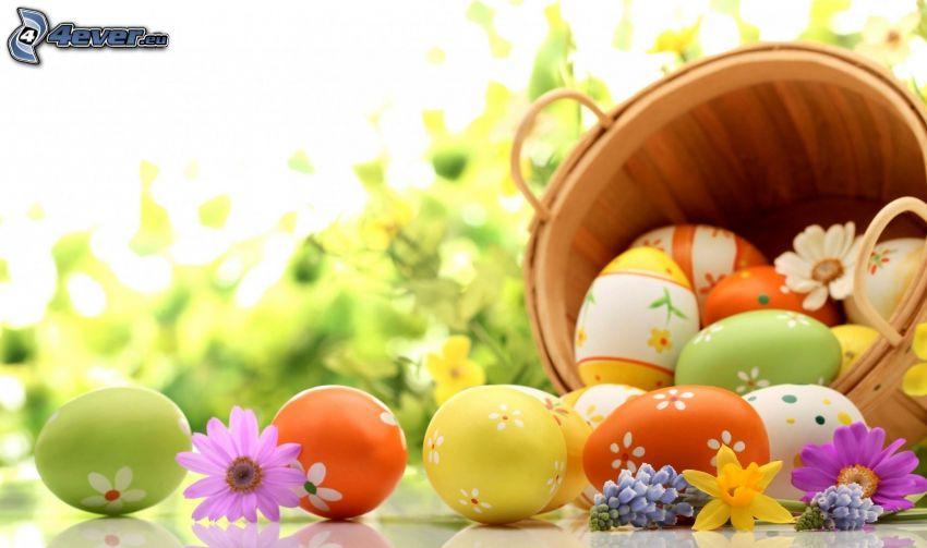 uova dipinte, uova di Pasqua, secchio, fiori di campo
