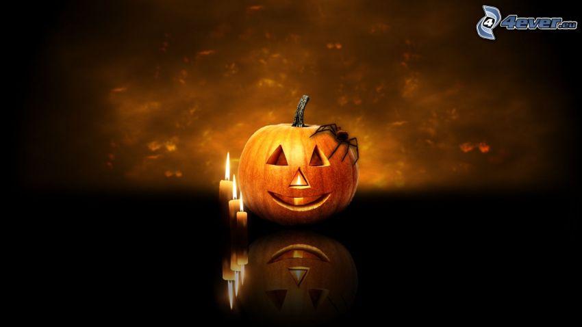 Zucca di Halloween, candele, ragno, oscurità
