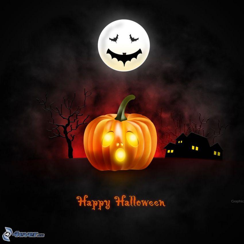 Zucca di Halloween, jack-o'-lantern, luna