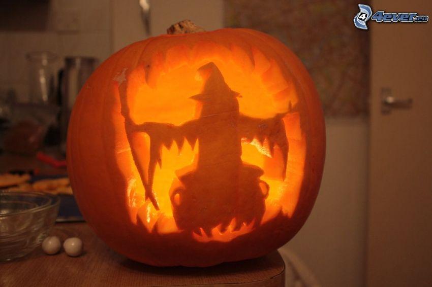 Zucca di Halloween, strega