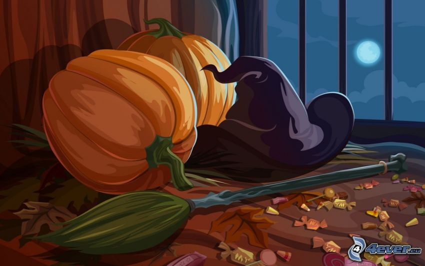 Zucche di Halloween, cappello, cartone animato
