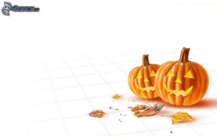 Zucche di Halloween, foglie di autunno