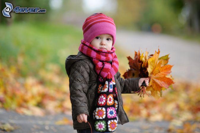 lány, őszi levelek
