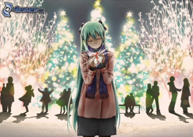 anime lány, karácsony