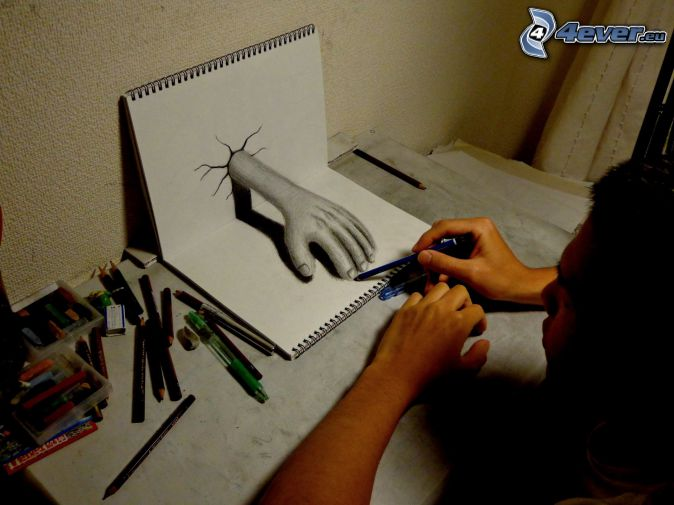 kéz, rajzolás, ceruzák