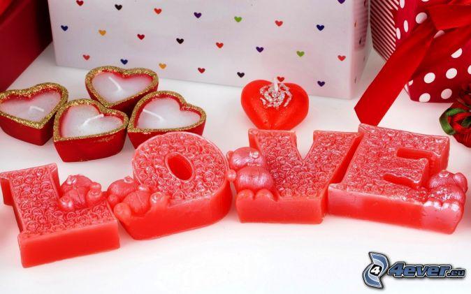 love, szív alakú gyertya, ajándékok