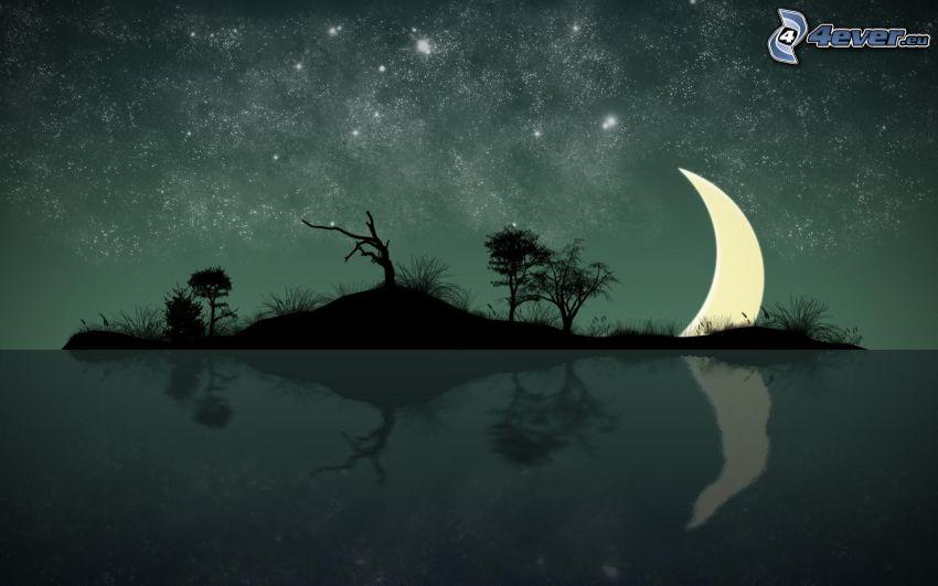 sziget, fák sziluettjei, hold, visszatükröződés, csillagos égbolt, rajzolt