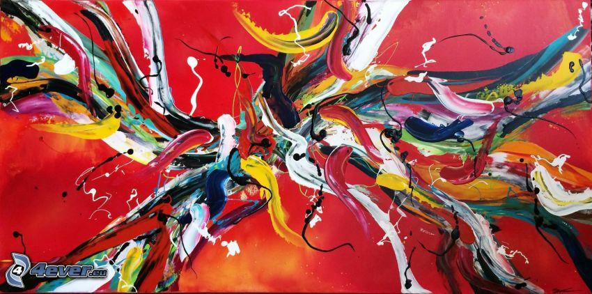 színes foltok, színek, piros háttér