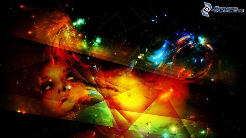 világegyetem, absztrakt háromszögek, arc, ködfátyol