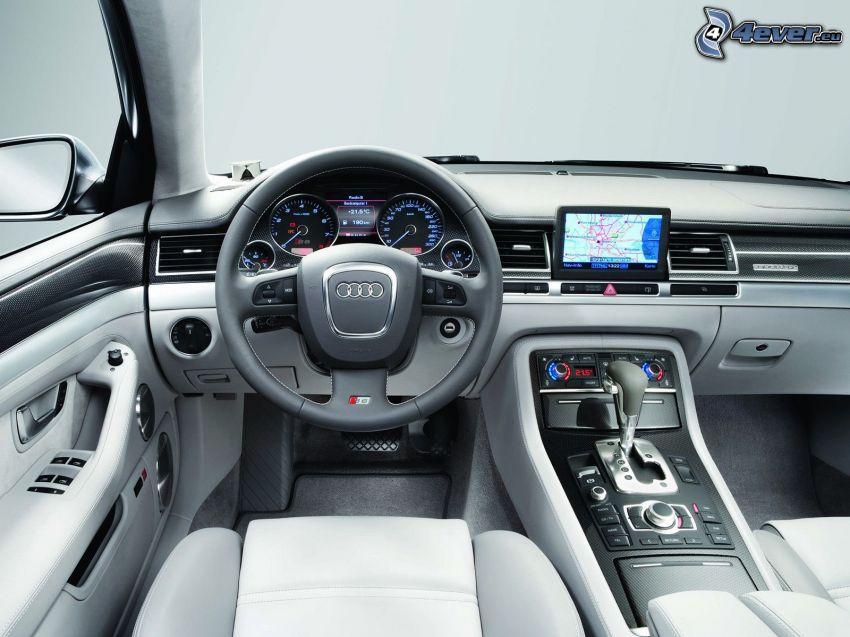 Audi S8, kormány, beltér