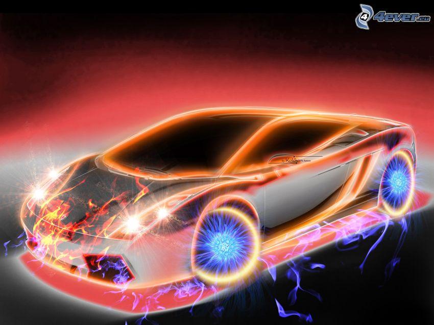 Lamborghini Gallardo, neon, tűz, víz, rajzolt autó