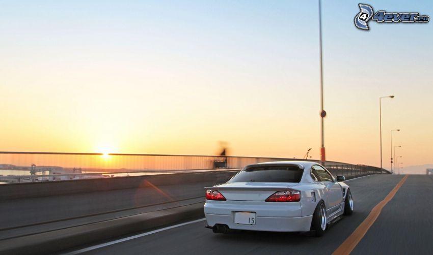 autó, lowrider, sebesség, napnyugta, híd