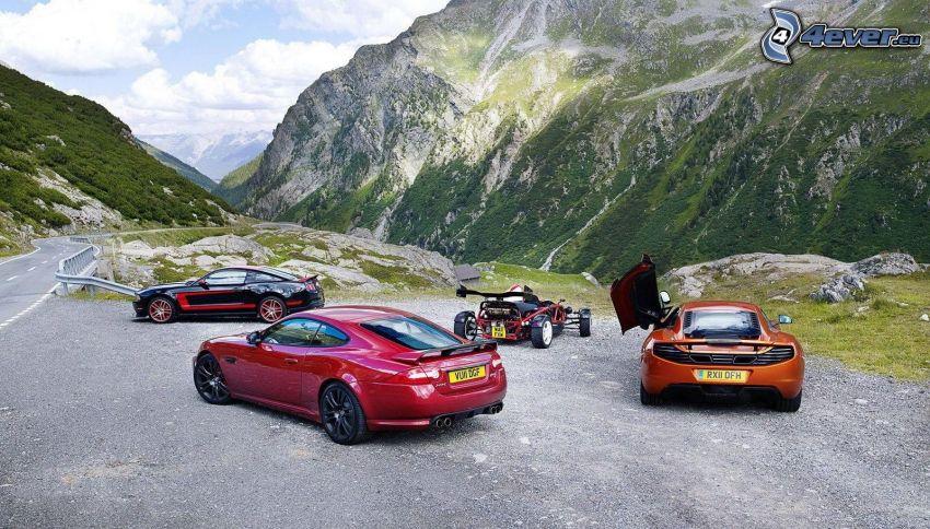 autók, sziklás hegység, Jaguar XK, Ford Mustang