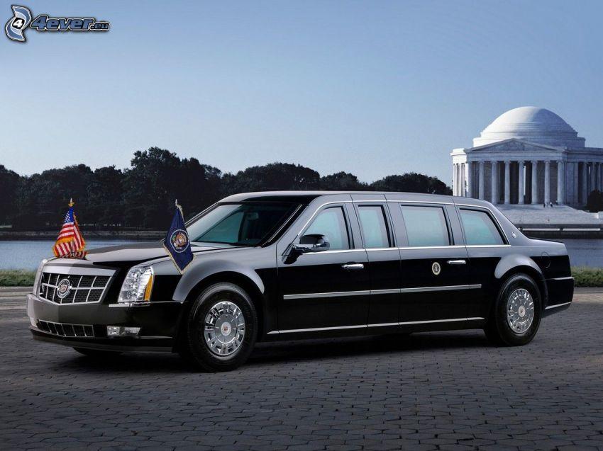 Cadillac, limuzin, zászlók, járda, USA