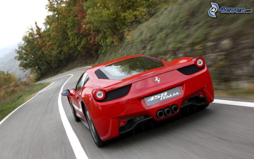 Ferrari 458 Italia, út, kanyar, sebesség