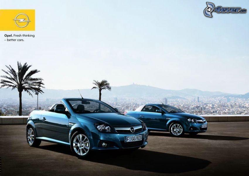 Opel Tigra, kabrió, kilátás a városra