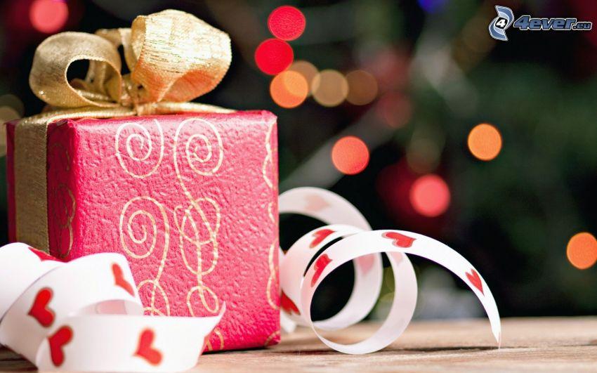 ajándék, masni, szalag, szivecskék