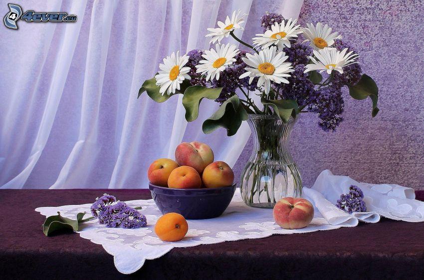 csendélet, virágcsokor, váza, őszibarackok