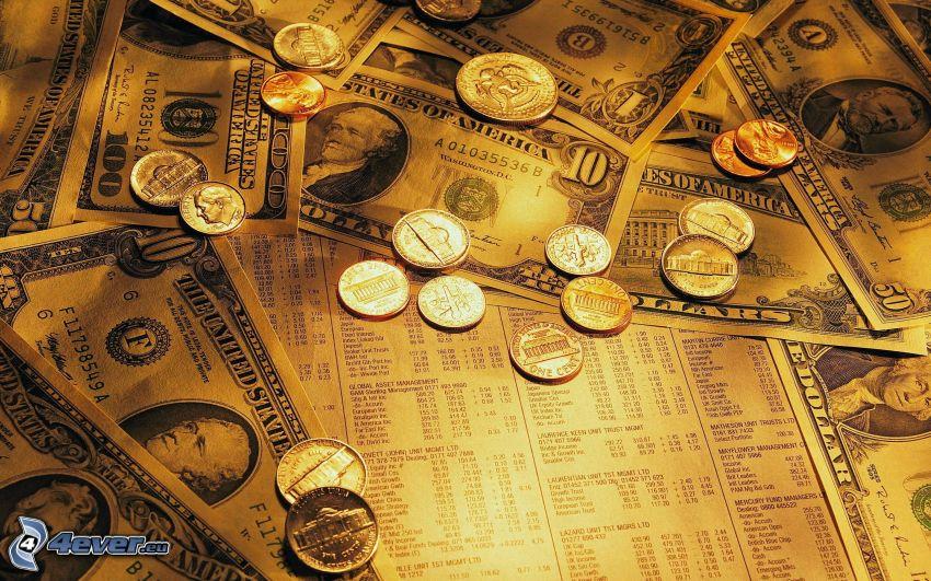 érmék, dollárok, pénz