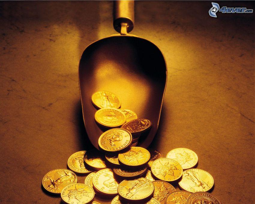 érmék, lapát