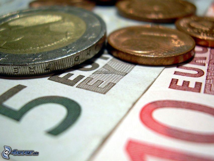 euro, érmék, bankjegyek