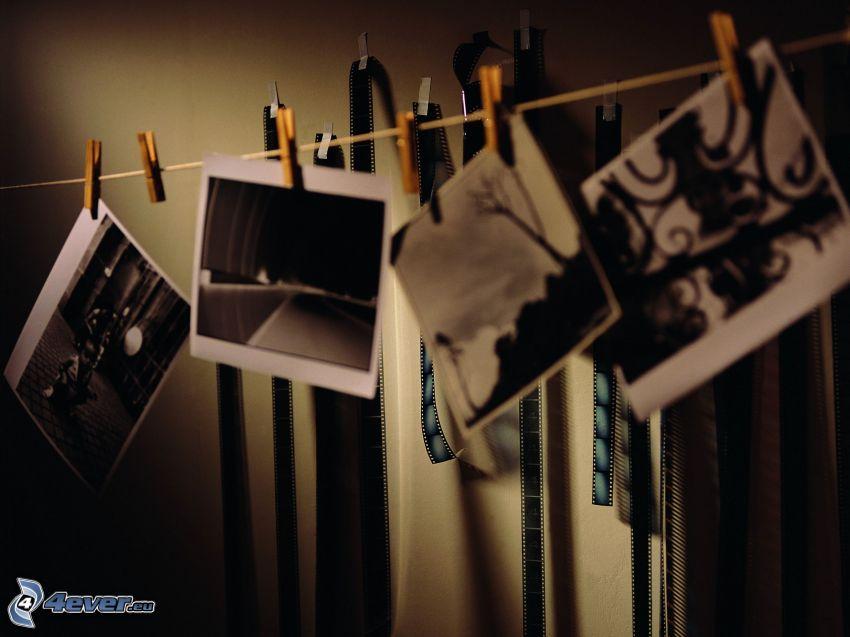 fényképek, zsinór
