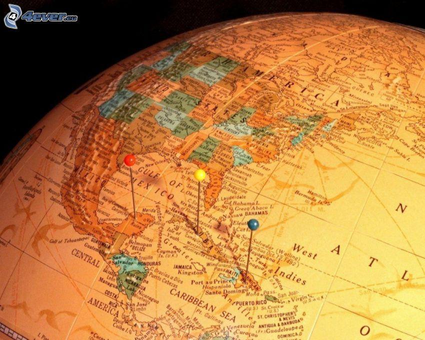 földgömb, világtérkép, gombostűk