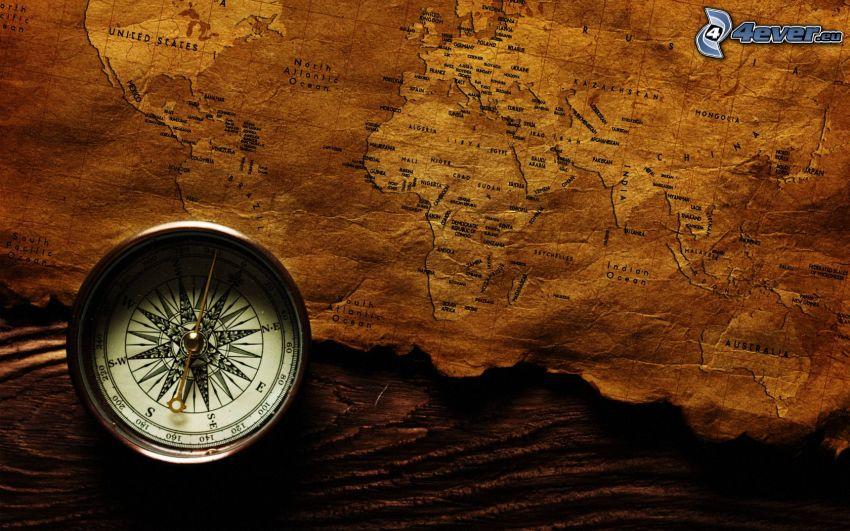 iránytű, történelmi térkép