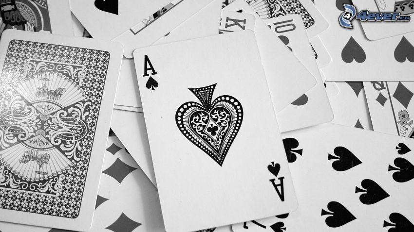 kártyák, ász, fekete-fehér