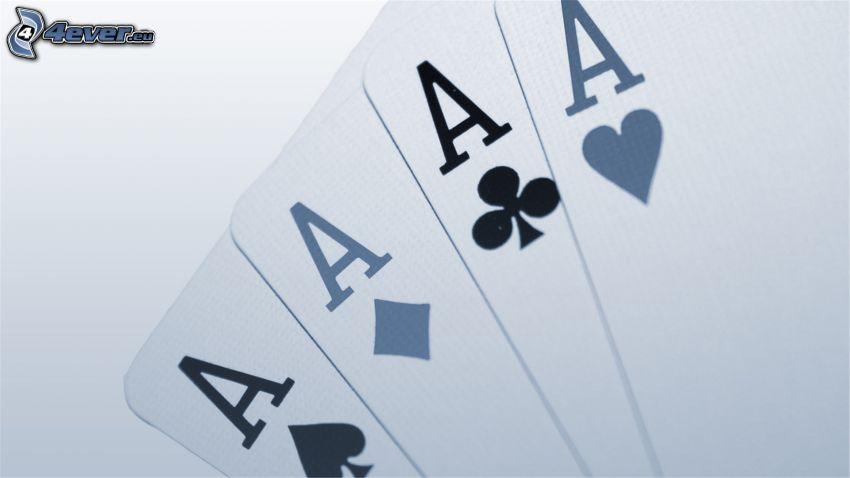 kártyák, ászok, fekete-fehér