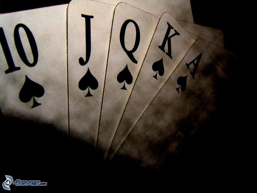kártyák, fekete-fehér kép