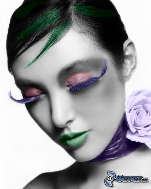modell, színek, arc, szépség