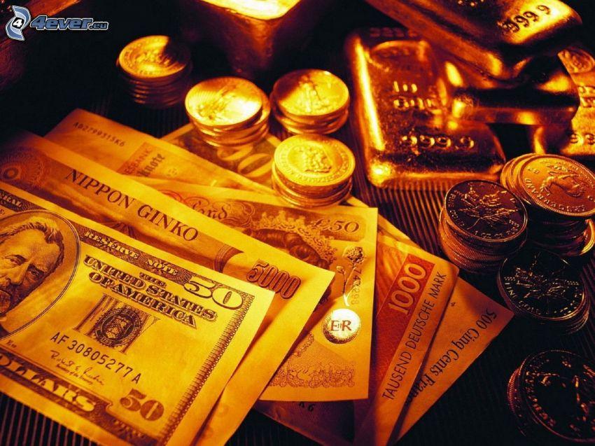 pénz, bankjegyek, érmék, aranyrudak