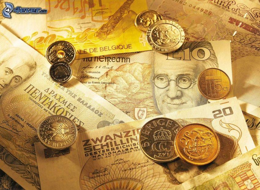pénz, bankjegyek, érmék