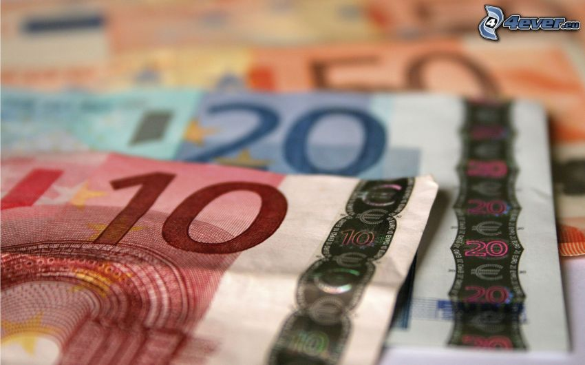 pénz, bankjegyek, euro