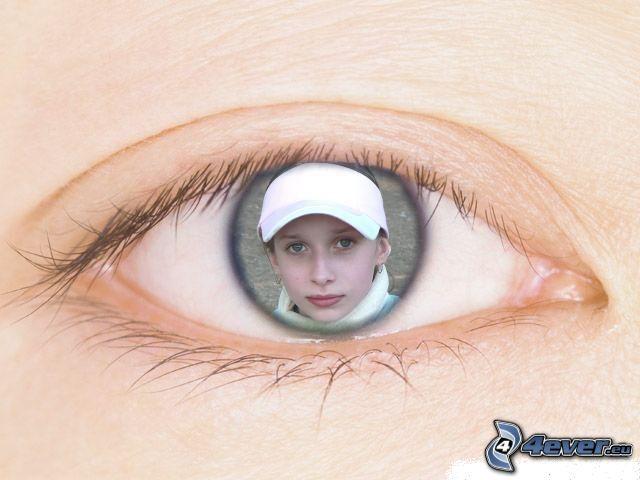 szem, visszatükröződés, arc