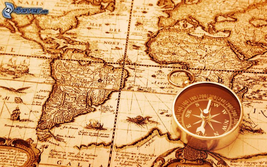 történelmi térkép, iránytű