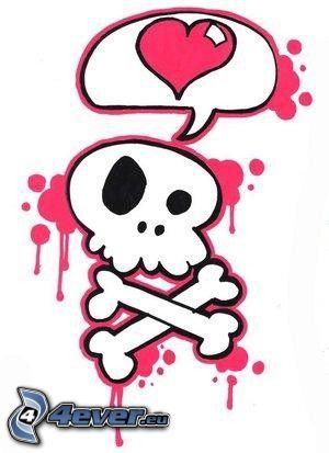 f7215d25b5 koponya, szerelem, szivecske, csontváz