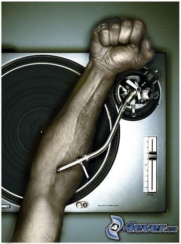 DJ, lemez, kéz, gramofon