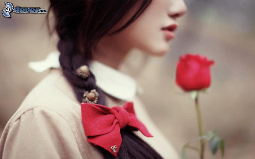 lány, masni, vörös rózsa, fekete haj