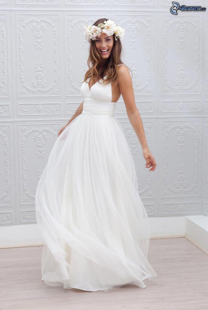 esküvői ruha, menyasszony, nevetés, fejpánt