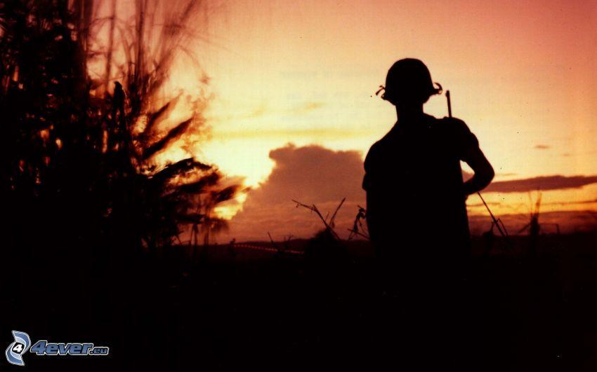katona, sziluett, fa sziluettje
