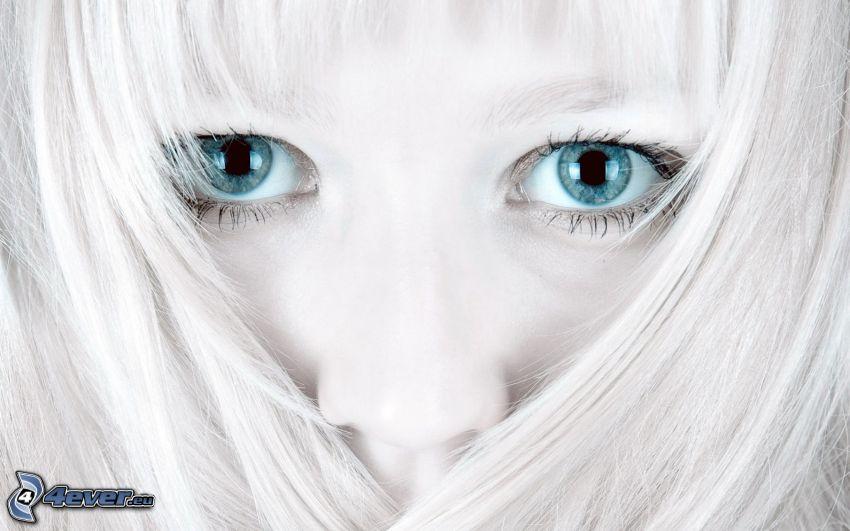 kék szemek, arc
