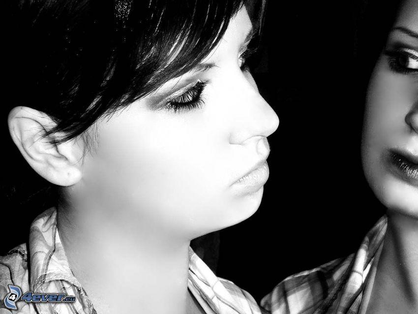 lány, arc, visszatükröződés, tükör