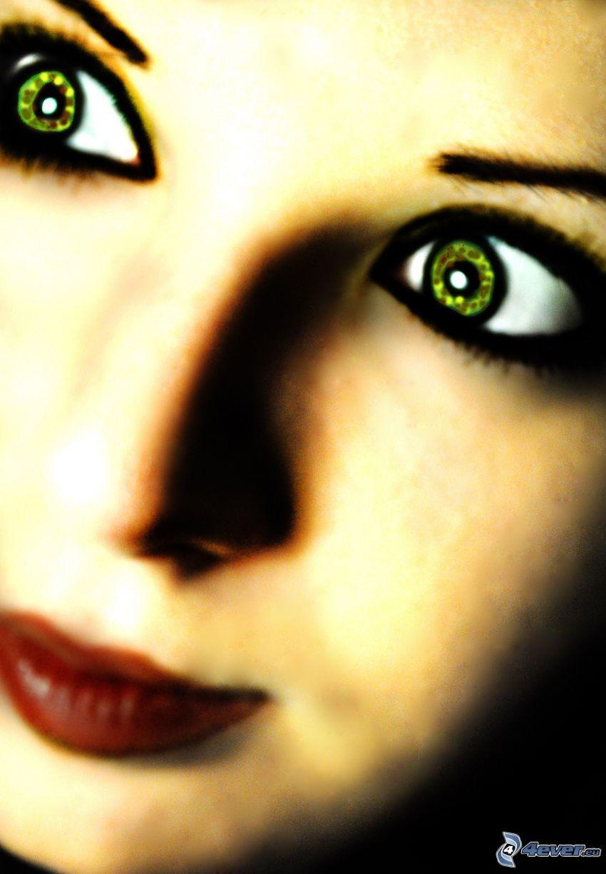 lány, arc, zöld szemek