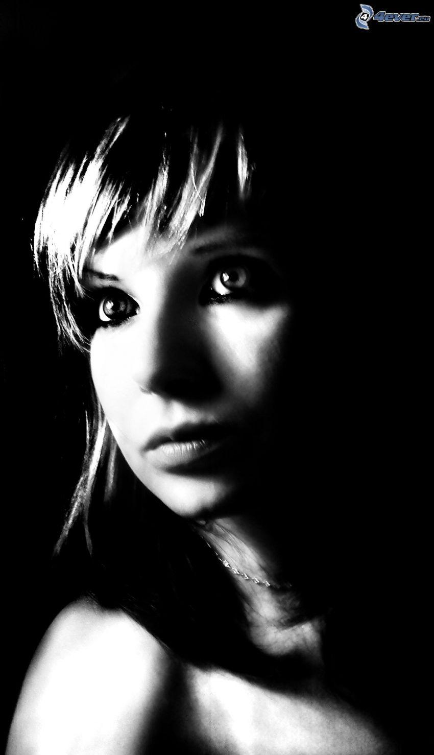 lány a sötétben, arc, sötétség, nyaklánc