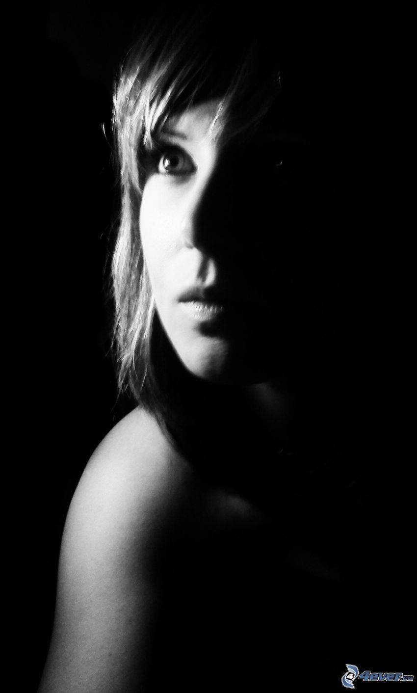 lány a sötétben, arc, sötétség