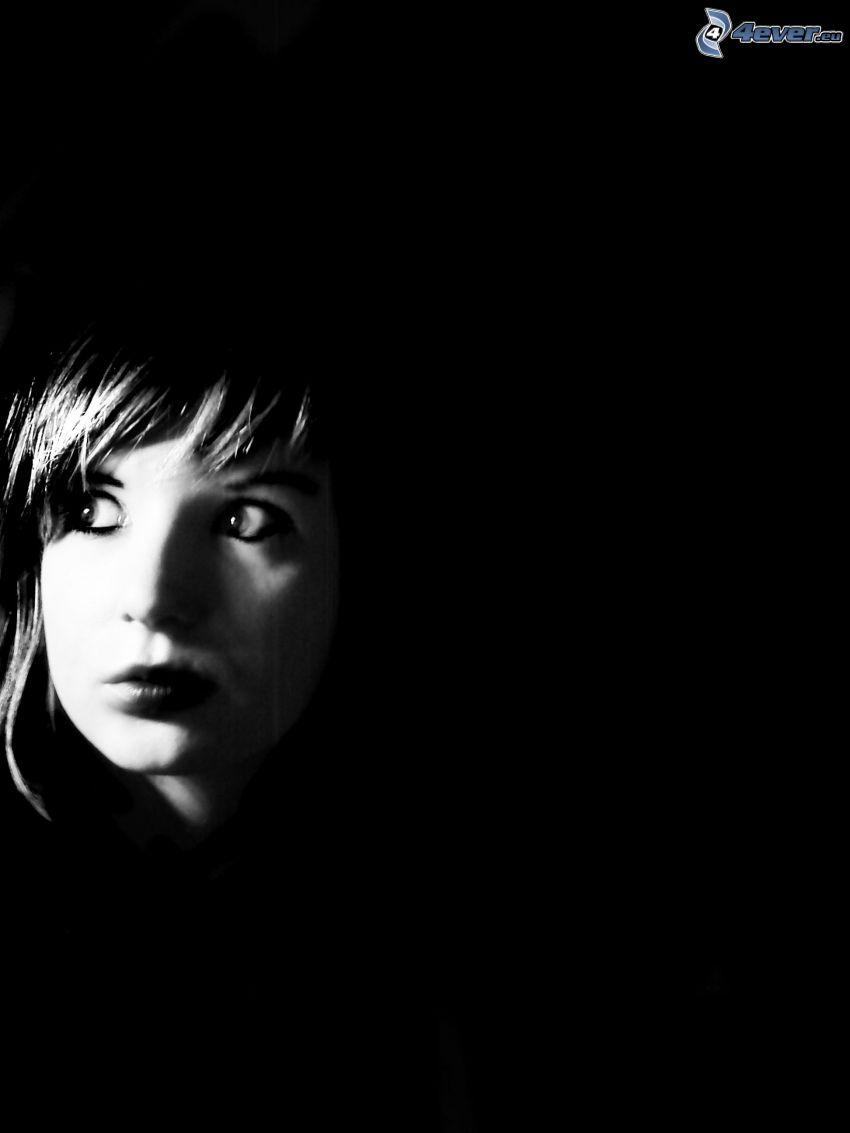 sötétség, lány, félelem, arc