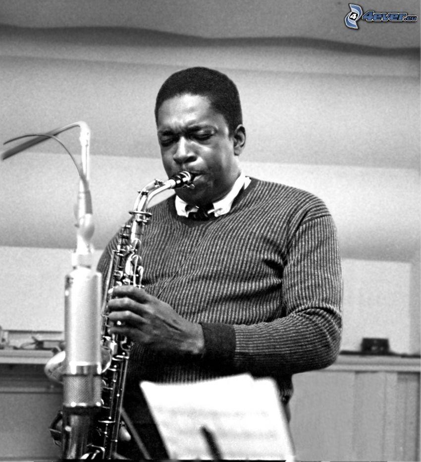 John Coltrane, szaxofonos, fekete-fehér kép